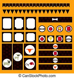 Printable tribal set of vintage dog party elements. Templates, labels, icons and wraps.