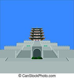 South Korea country design flat cartoon elements. Travel landmark, Seoul tourism place. World vacation travel city sightseeing Asia building collection. Asian architecture National Folk Museum isolated