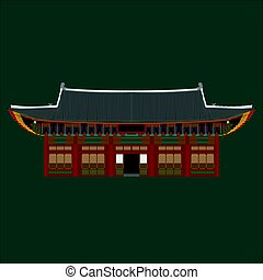 South Korea country design flat cartoon elements. Travel landmark, Seoul tourism place. World vacation travel city sightseeing Asia building collection. Asian architecture isolated Deoksugung palace