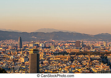 Barcelona cityscape at sunset overlook from Montjuic