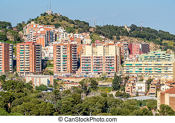Barcelona residential district cityscape view from Park...