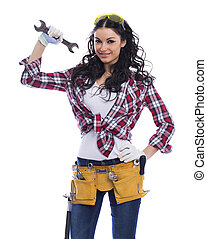 Sexy brunette woman mechanic with a wrench - Project...
