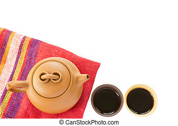 Chinese Yixing clay tea set with teapot and cups with hot...
