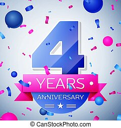 Four years anniversary celebration on grey background....
