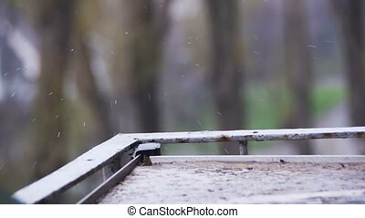 Rain Drops on the Windowsill in Slow Motion - Rain Drops on...