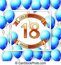 Realistic blue balloons with ribbon in centre golden text...