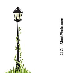 Vector street lamp - Vector illustration of a street lamp on...
