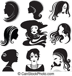 woman with long hair - Vector set of closeup silhouette...