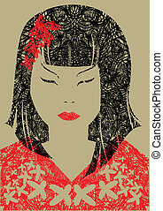 japanese woman with long hair - Vector closeup portrait of...