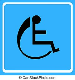 wheelchair - disabled icon vector