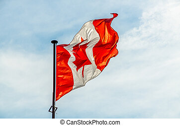 Canadian flag flying on the blue sky background