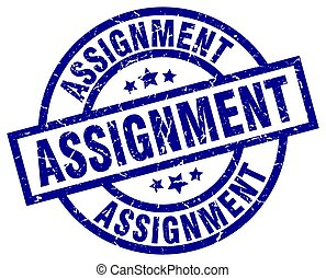assignment blue round grunge stamp