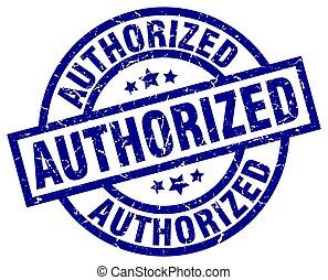 authorized blue round grunge stamp