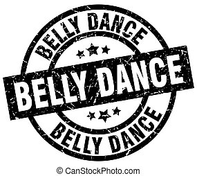 belly dance round grunge black stamp