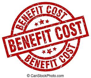 benefit cost round red grunge stamp