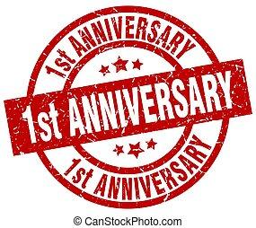 1st anniversary round red grunge stamp