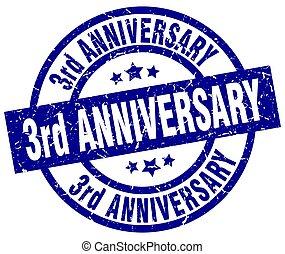 3rd anniversary blue round grunge stamp