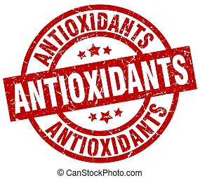 antioxidants round red grunge stamp