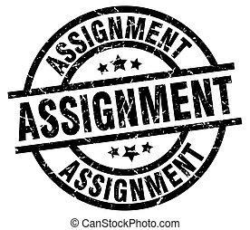 assignment round grunge black stamp