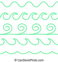 Vector turquoise line waves set on white background. -...