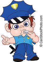 jovem, policial