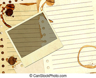 Stains of coffee on sheets of paper  and photo