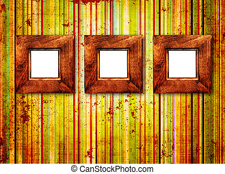 Three wooden frame on old wall