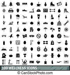 100 wellness icons set, simple style