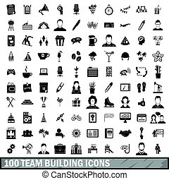 100 team building icons set, simple style