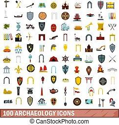 100 archaeology icons set, flat style - 100 archaeology...