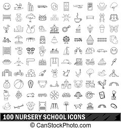 100 nursery school icons set, outline style