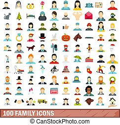 100 family icons set, flat style - 100 family icons set in...