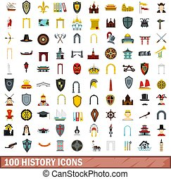 100 history icons set, flat style - 100 history icons set in...