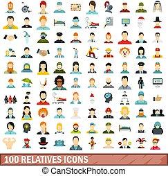 100 relatives icons set, flat style - 100 relatives icons...