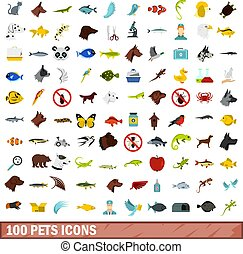 100 pets icons set, flat style - 100 pets icons set in flat...