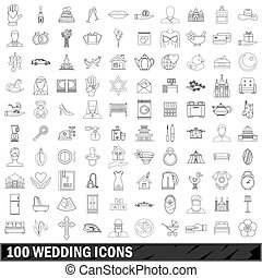 100 wedding icons set, outline style - 100 wedding icons set...