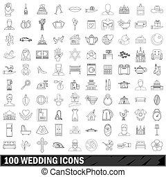 100 wedding icons set, outline style - 100 wedding icons set...
