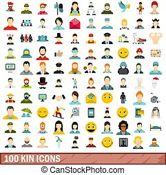 100 kin icons set, flat style - 100 kin icons set in flat...