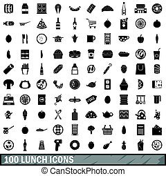 100 lunch icons set, simple style - 100 lunch icons set in...