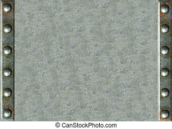 Metal background  - Background - metal plates with rivets