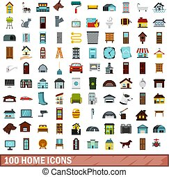 100 home icons set, flat style