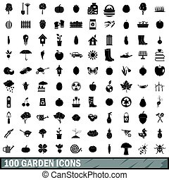 100 garden icons set, simple style - 100 garden icons set in...