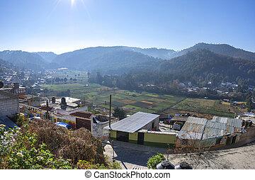 Farming valley in San Cristobal de las Casas, Chiapas -...