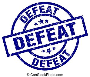 defeat blue round grunge stamp