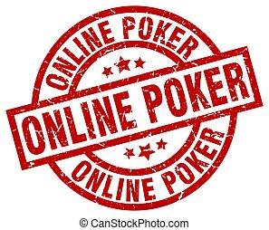 online poker round red grunge stamp
