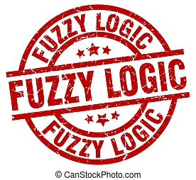 fuzzy logic round red grunge stamp