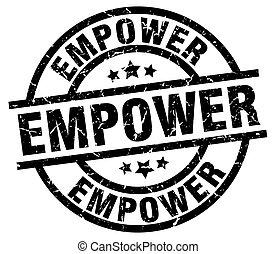 empower round grunge black stamp