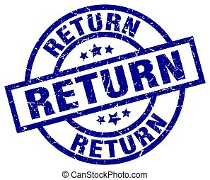 return blue round grunge stamp