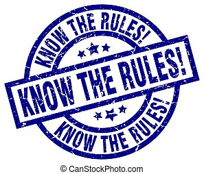 know the rules! blue round grunge stamp