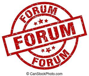 forum round red grunge stamp